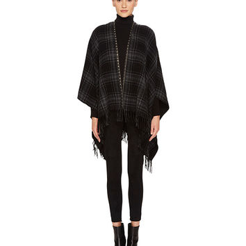 The Kooples Check-Pattern Poncho