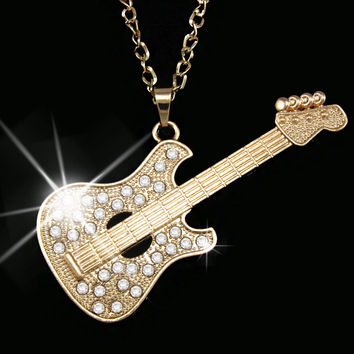Fashion Gold Guitar Punk Men Long Chain Necklace Big Pendant Necklace for Men Women Accessories fashion jewelry nkeh58