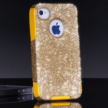 Otterbox Custom iPhone 4 Case, Gold Glitter iPhone 4S Otterbox Case, iPhone 4 Cover, iPhone 4S Cover, iPhone Cover