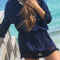 Kamari Sun set Navy Lace Detailed Tunic