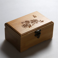 vintage wooden Storage Box classic and elegant jewelry box sundries makeup organizer prints bamboo eco-friendly container