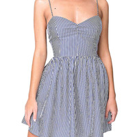 Stripe Open Back Cami Dress in Black and White