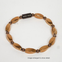 Magnetic Copper Colored Twist Bead Hematite Bracelet with 5,000 Gauss Black Clasp