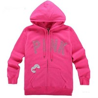 One-nice™ Victoria's Secret PINK Women's Fashion Letter Print Hooded Long-sleeves Pullover Tops Sweater