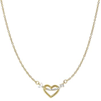 "14K Two Tone Gold Arrow Through Open Heart Pendant On 18"" Necklace"