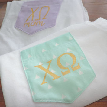 New Chi Omega Triangle Floral Pocket T-Shirt // Pick a Pattern // Sizes S-XL