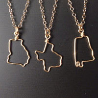 Small State Necklace - Tiny State Outline Necklace - Miniature State Necklace - Custom State Necklace - State Jewelry