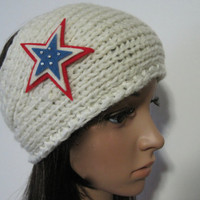 Ivory Winter White Knit  Ear Warmer Headband Head Wrap with Red White and Blue Felt Star and Swarovski Crystal Accents