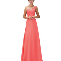 Coral Sheer Illusion Cap Sleeved Chiffon Long Gown 2016 Prom Dresses
