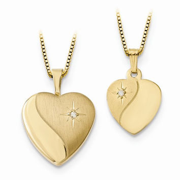14k Gold Heart Locket & Gold Plated SS Pendant