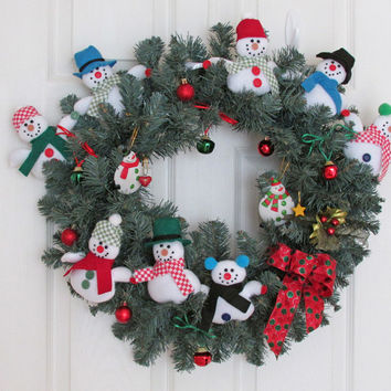 Snowmen Winter Wreath Blue Spruce Holiday Christmas Wreath