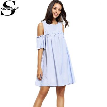 Sheinside Ladies Blue Vertical Striped Open Shoulder Keyhole Back Dress Round Neck Half Sleeve A Line Dress