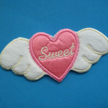 Iron-on Patch Sweet Love (pink) 3.6 inch