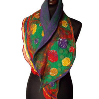 Nuno Felted Collar Nuno Felted Scarf Hand Felted Shawl Green Red Purple Yellow Art to wear Women's Gift Wool collar Felted Silk scarf OOAK