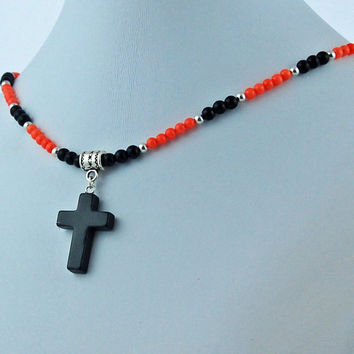 Black Onyx Cross with Angelskin Coral and Onyx Necklace, Stone Cross Necklace, Stone Cross Pendant, Religious Necklace