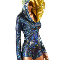 Black Shattered Glass Dragon Hoodie Romper with Gold Spikes & Hood Lining