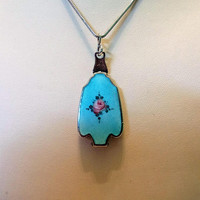 Antique Sterling Silver Turquoise Blue Enamel Pink White Red Rose Miniature Photo Locket Pendant Necklace