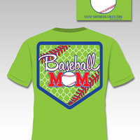 SALE Sassy Frass Collection Preppy Baseball Mom Quatrefoil Sports Bright Girlie T Shirt
