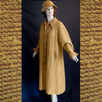 Vintage 50s Lucy Style Swing Coat Matching Hat Nubby Fabric Bust 40