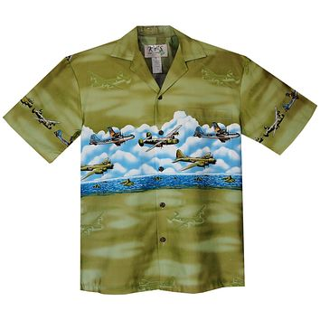 Victory Planes Green Border Hawaiian Shirt
