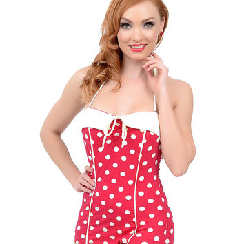 Vintage 1950s Style Pin-Up Red & White Dot Bandeau One Piece Swimsuit