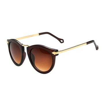 FUNOC® Retro Vintage Fashion Unisex Round Arrow Style Metal Frame Sunglasses Eyewear