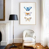 Watercolor Butterfly Canvas Art Painting Poster for Home Wall Decor