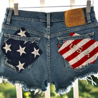 Levis destroy denim shorts with flag and by VIntagedenimcorner