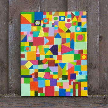 Geometric Oil Painting Abstract Original by Davs on Etsy
