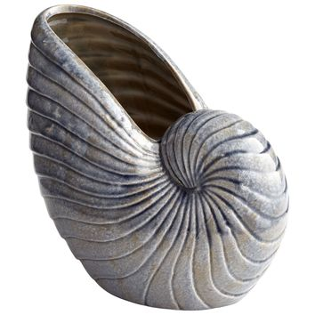Small Rippled Silvery Blue Ceramic  Nautilus Shell Vase by Cyan Design