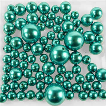Assorted Plastic Bead Pearls, 14mm 20mm 30mm, 76-Piece, Turquoise