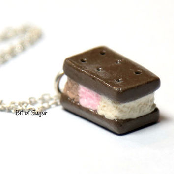 Neapolitan Ice Cream Cookie Sandwich Necklace - Cute kawaii fake miniature food jewlry