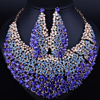 Elegant Wedding Jewelry Full Color Crystal Rhinestones Necklace Earrings for Women African Jewelry sets