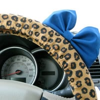 Leopard Print Steering Wheel Cover with Matching by BeauFleurs
