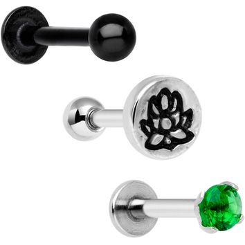 "16 Gauge 1/4"" Green Gem Lotus Flower Cartilage Tragus Earring Set of 3"