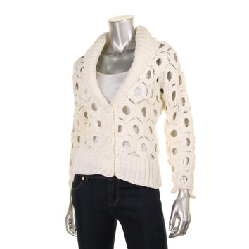 Catherine Malandrino Womens Shawl Collar Button Front Cardigan Sweater