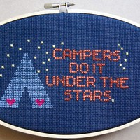 $5.00 Campers Do It Under the Stars Cross Stitch Pattern PDF by CampfireChic