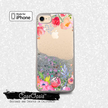 Flower Watercolor Roses Pink Vines Floral Liquid Glitter Sparkle Case iPhone 6 and 6s iPhone 6 Plus and 6s Plus iPhone 7 and iPhone 7 Plus