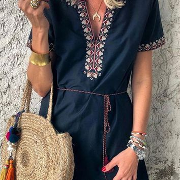 Blue Boho Embroidered V Neck Short Sleeve Mini Dress