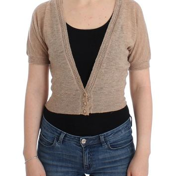 Beige Cropped Cardigan Sweater
