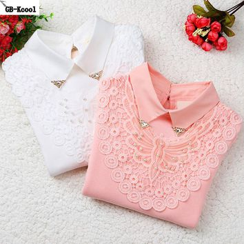 2017 Children's Bottoming Shirt Autumn Winter Big Girls Lace Tops Kid Fashion Cotton Long-sleeved Basic T-shirt Student T Shirts