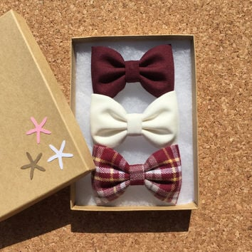 Winter white, new red plaid flannel, and burgundy hair bow set from Seaside Sparrow. Hair bow, hair clip, hair accessory, gift for her hair