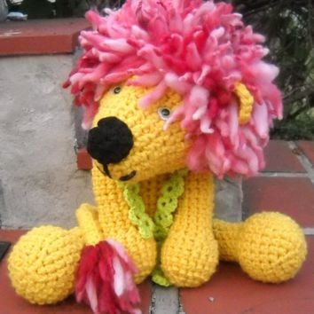 Handmade Crochet Fluffy Mane and Tail Stuffed Lion