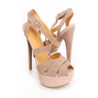 Nude Strappy Platform Heels Faux Leather