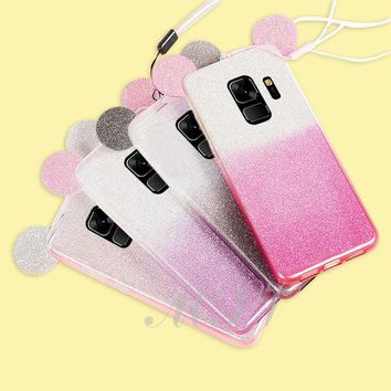 Gradient Minnie Mickey Mouse Ears Case For Samsung Galaxy S9 S7 S6 Edge S8 Plus S5 J3 J5 A5 A3 A7 J7 2017 2016 Glitte TPU Case