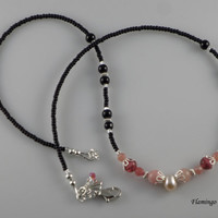 18 inch Pink Black Necklace Handmade Beaded Single Strand, Blend of Gemstone, Glass Beads,Cherry Quartz, Black Onyx, and a Fresh Water Pearl