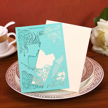22 Color Free Shipping 12PCS Romantic Laser Cut Envelope Bride and Groom Wedding Invitation Card  Souvenirs Wedding Favor Decor