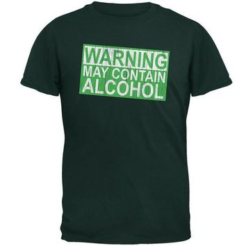 PEAPGQ9 St Patrick's Day Warning May Contain Alcohol Mens T Shirt