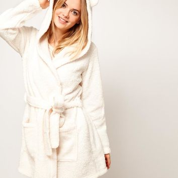 Oysho | Oysho Fluffy Robe With Animal Ears at ASOS