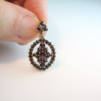 Bohemian Garnet Pendant Vintage Rose Cut Victorian Revival Gemstones Small Oval & Decorated Bale